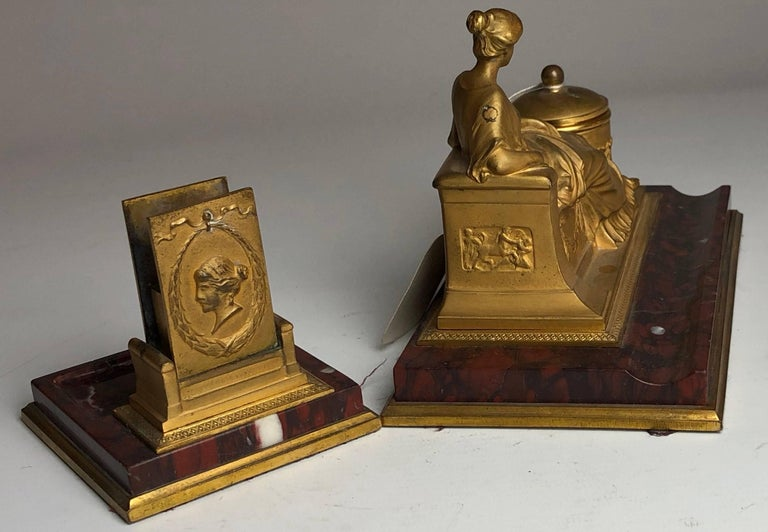 19th Century Two-Piece Grand Tour Desk Set, Inkwell and Striker, circa 1880 In Excellent Condition For Sale In London, GB