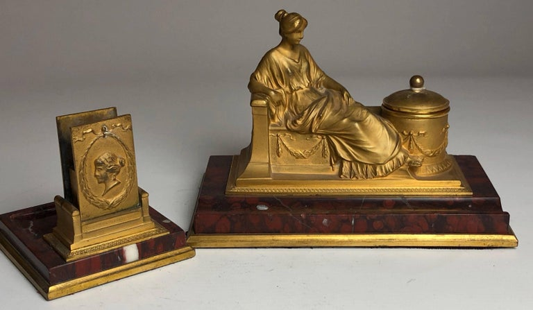 Austrian 19th Century Two-Piece Grand Tour Desk Set, Inkwell and Striker, circa 1880 For Sale