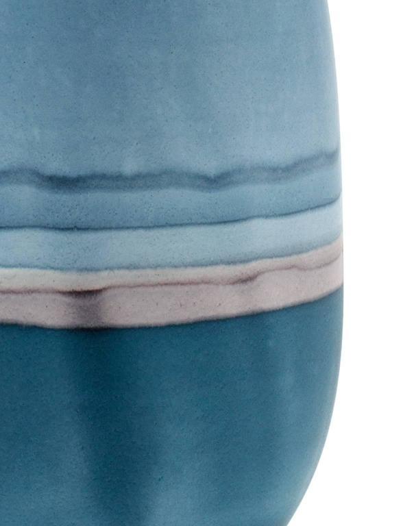 American Unique Handmade 21st Century Blue and Indigo Dip-Dyed Oblong Vase