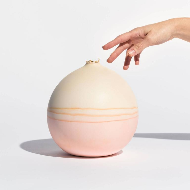 Unique Handmade Medium Round Landscape Vase in Bone and Peach 3