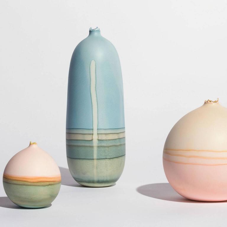 Unique Handmade Medium Round Landscape Vase in Bone and Peach 5