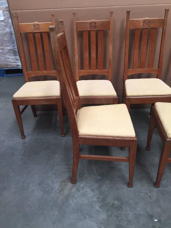 Set of six oak e a taylor glasgow school chairs by wylie