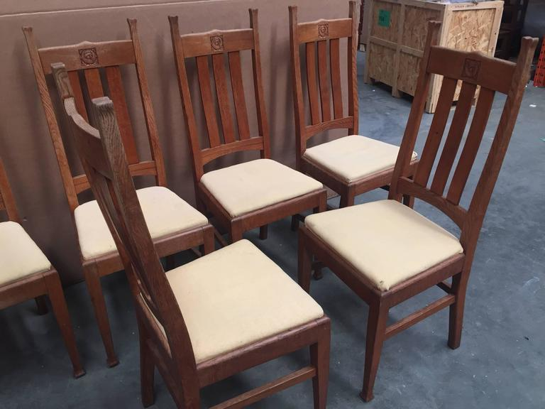 Set of six oak e a taylor glasgow school chairs by wylie and lochhead circa 1905 for sale at - Dining room furniture glasgow ...