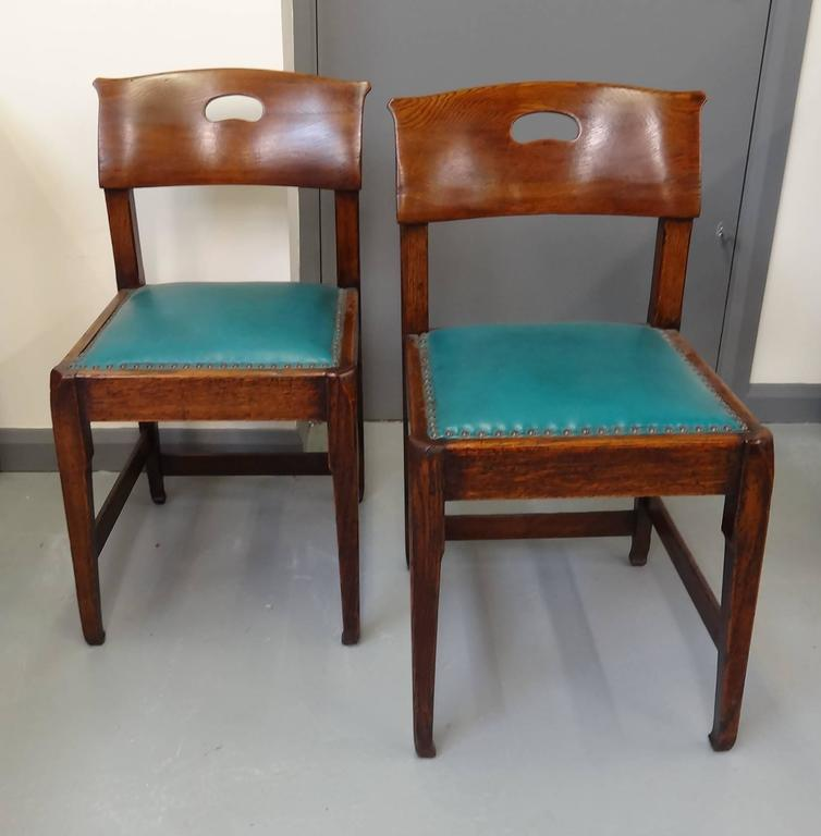 Richard Riemerschmid Arts and Crafts Art Nouveau rare pair oak chairs 3