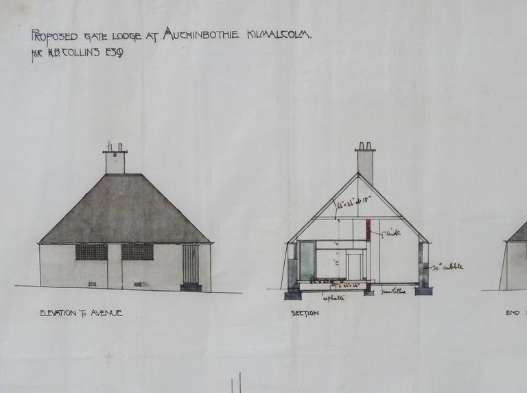 Charles rennie mackintosh original architectural drawing for Architectural drawings for sale