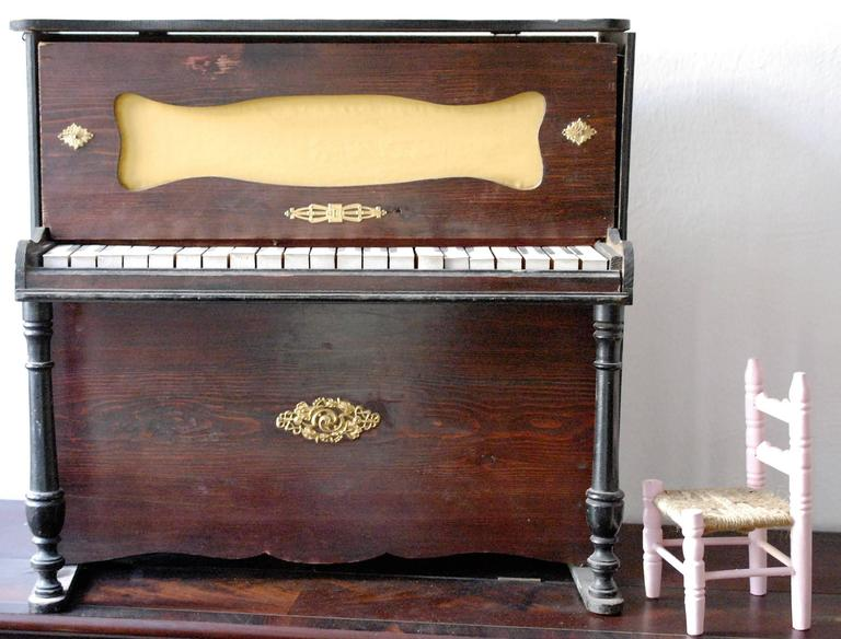 French 19th Century Doll's Piano, Toy Upright, Mounted Brass, Restored 2