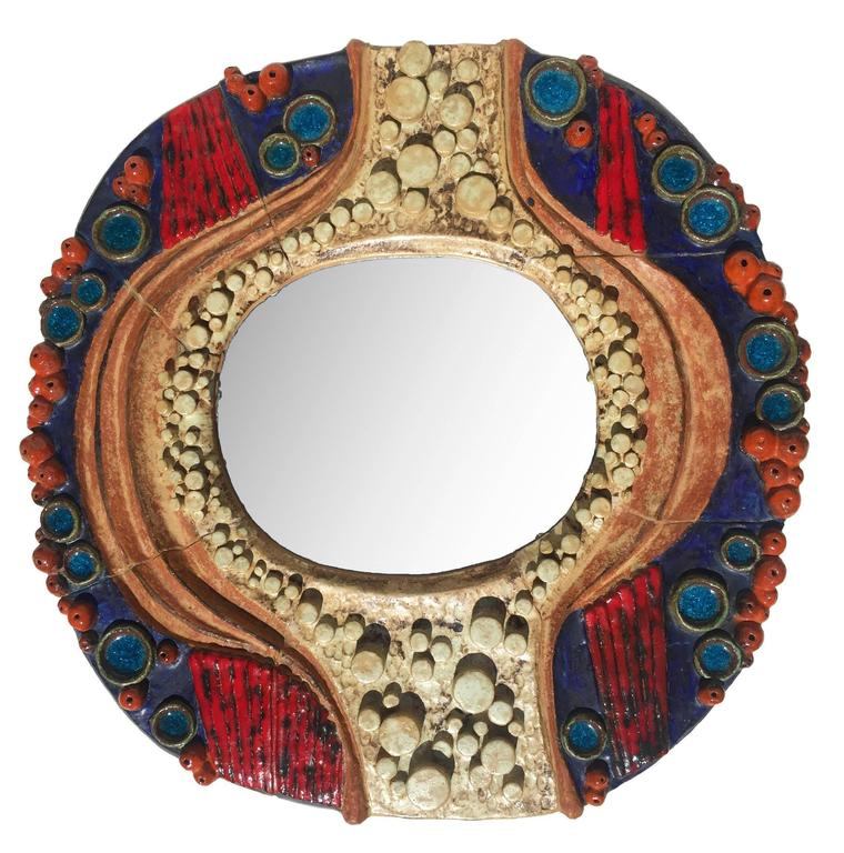 One-of-a-kind Free Form Art Pottery Mirror 1970s Glazed Blue Red Pearl Rainbow