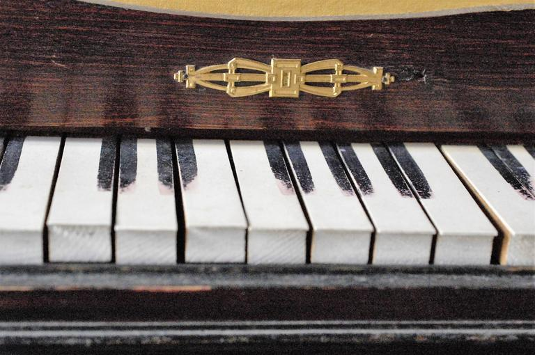 French 19th Century Doll's Piano, Toy Upright, Mounted Brass, Restored 4