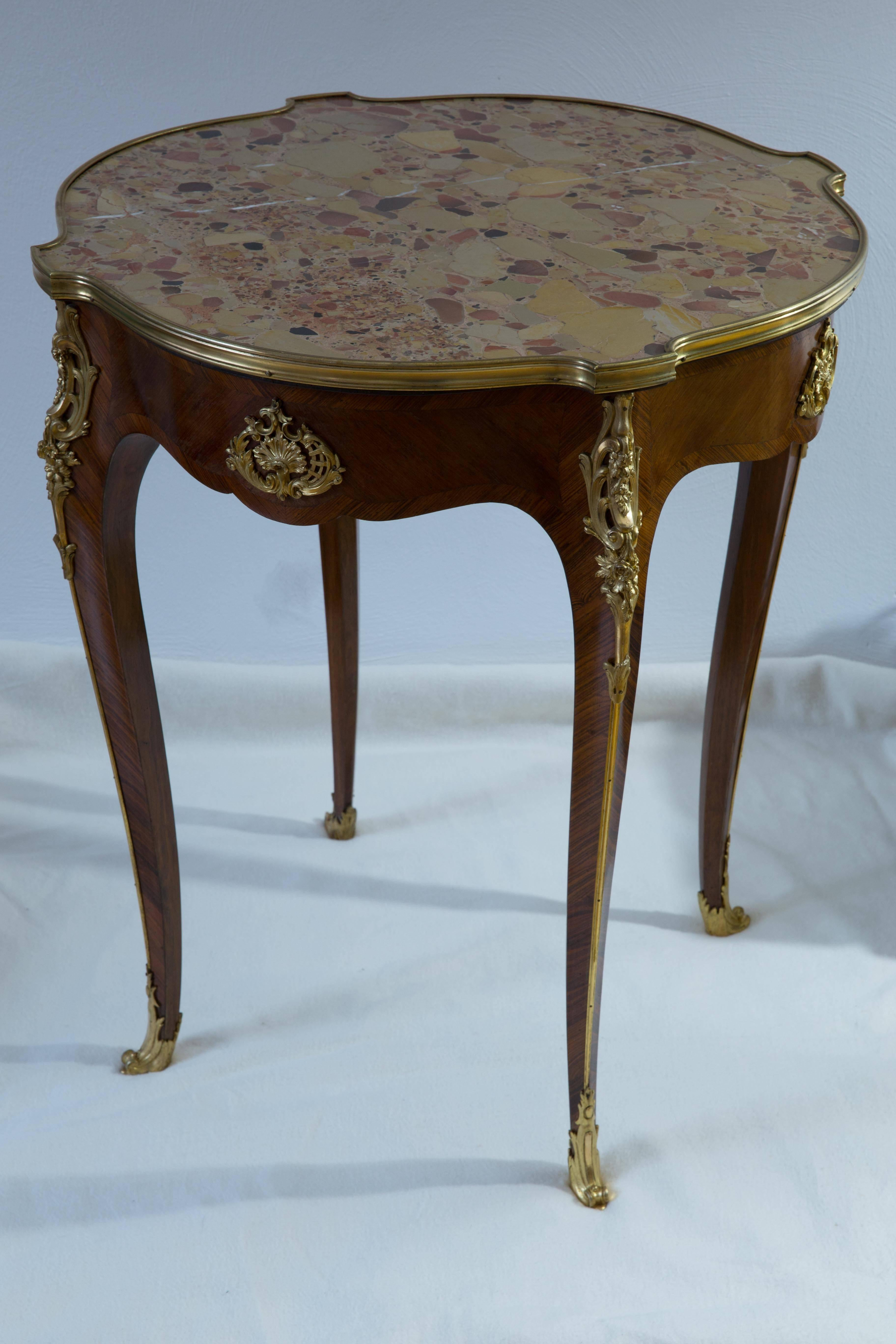 Guéridon Side Table French Rococo, Louis XVI style, gilded bronzes ...