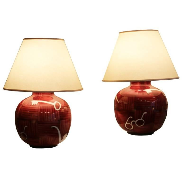 Couple of Red Spherical Table Lamps by Gio Ponti, Signed by Richard Ginori,1950