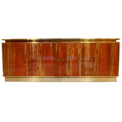 Red Lacquered Four Doors Sideboard by Maison Jansen, France, 1970, Brass Details
