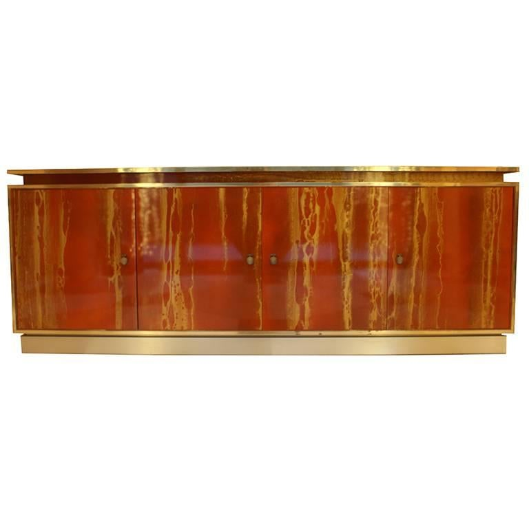 Red Lacquered Four Doors Sideboard by Maison Jansen, France, 1970, Brass Details For Sale