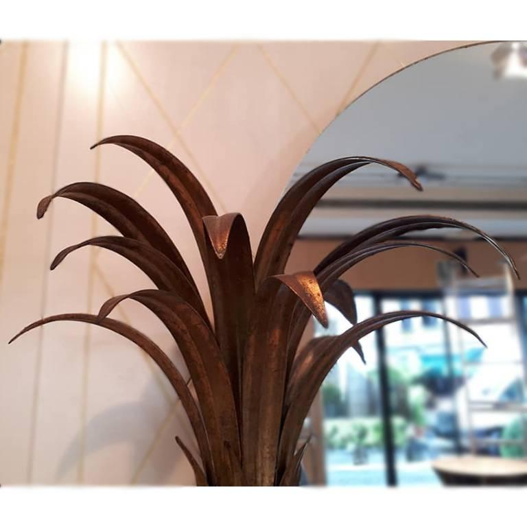 Art Deco Maison Jansen Couple of Mirrors, Palm Tree Shape Metal Painted Gold France, 1960 For Sale