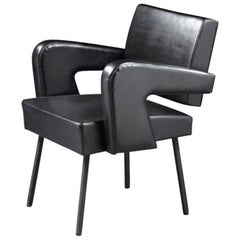 J. Adnet, Black Leather Armchair, 1950