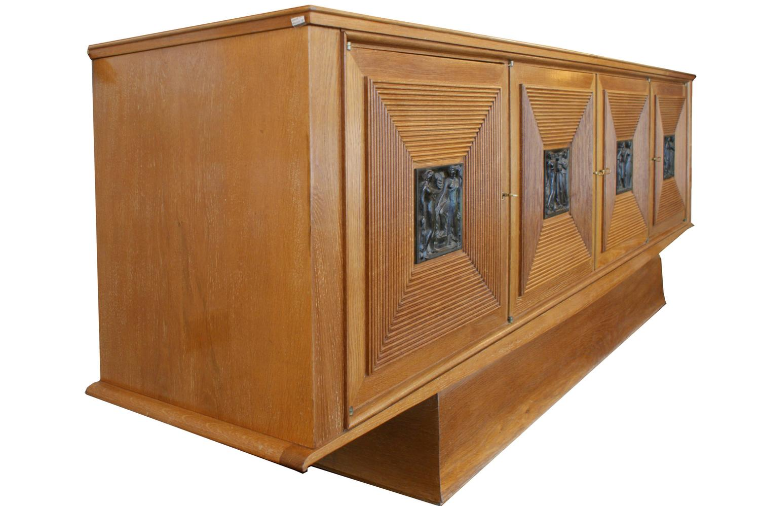 Oak and bronze cabinet by maxime old 1940 for sale at 1stdibs for 1940s kitchen cabinets for sale