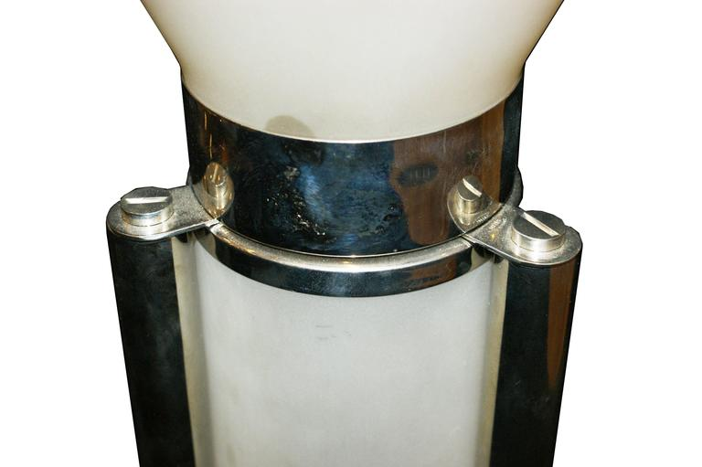 Art Deco 1930s Table Lamp, nickel plated whith white glass, by Lacroix for Mitis, France For Sale