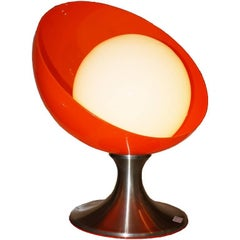 Table Lamp, Orange Plexiglass, Base in Nickel-Plated Metal, Italian, 1960