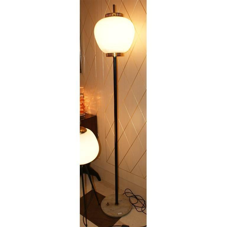 Stilnovo Balloon Ground Lamp, White Marble Base, Black ...