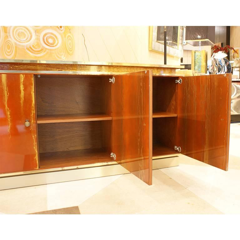 Painted Red Lacquered Four Doors Sideboard by Maison Jansen, France, 1970, Brass Details For Sale