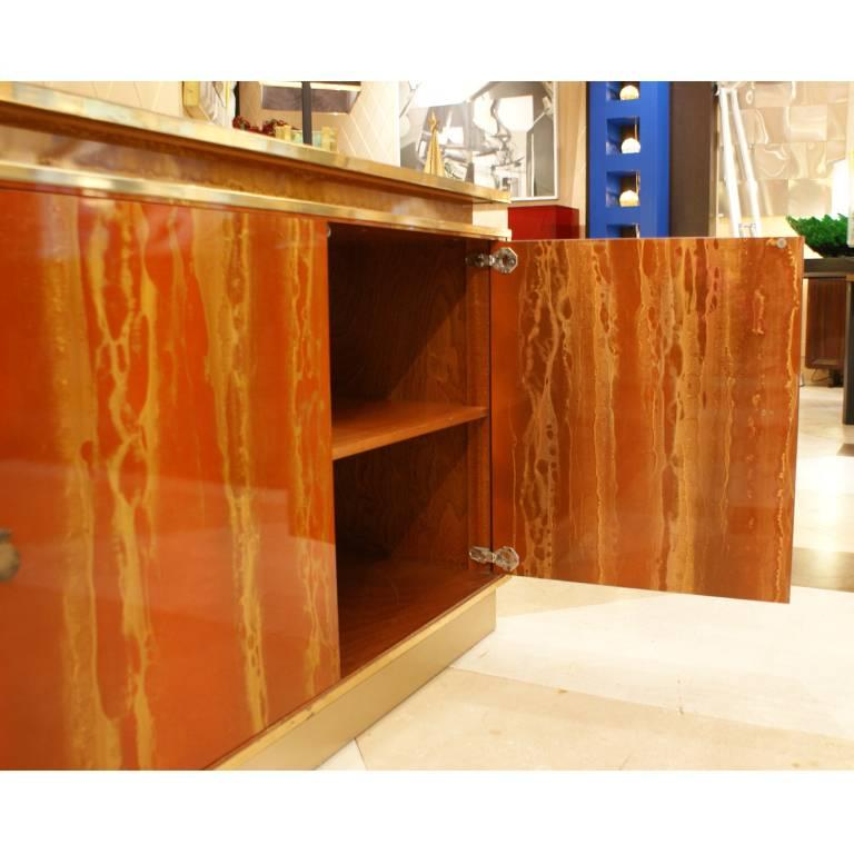 Late 20th Century Red Lacquered Four Doors Sideboard by Maison Jansen, France, 1970, Brass Details For Sale