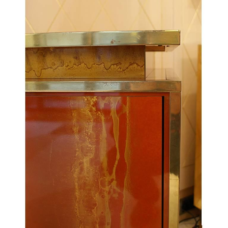 Red Lacquered Four Doors Sideboard by Maison Jansen, France, 1970, Brass Details For Sale 1