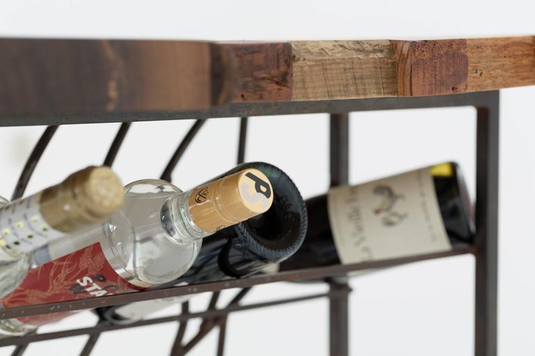 Hand-Crafted Raw Craft Table and Wine Rack One of a Kind, Handcrafted with Anthony Bourdain For Sale