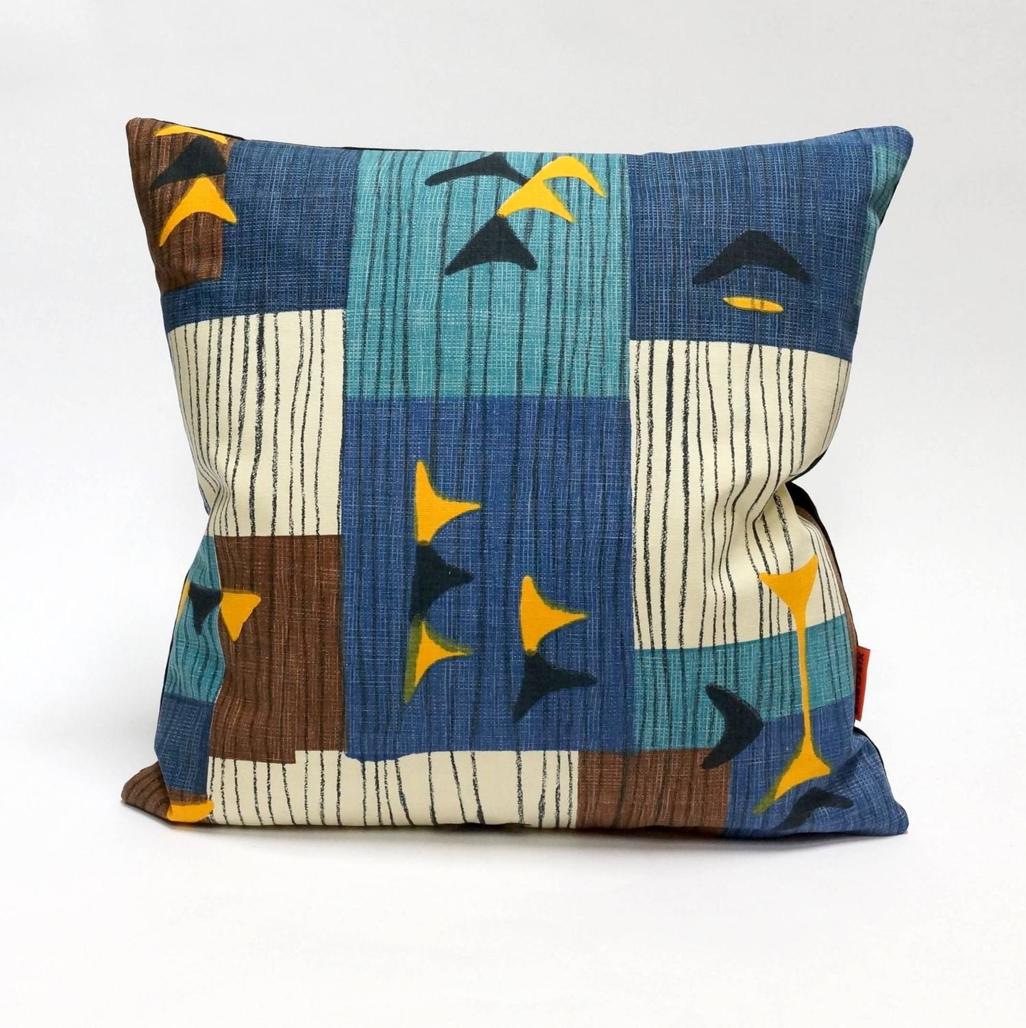 Blue Mid-Century Modern Accent Pillows by EllaOsix For Sale at 1stdibs