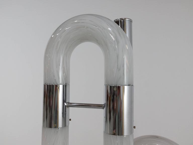 Carlo Nason Italian Floor Lamp in Chrome and Glass for Mazzega, 1970s 5