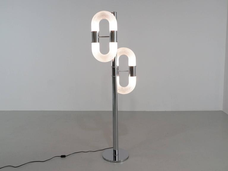 Carlo Nason Italian Floor Lamp in Chrome and Glass for Mazzega, 1970s 2
