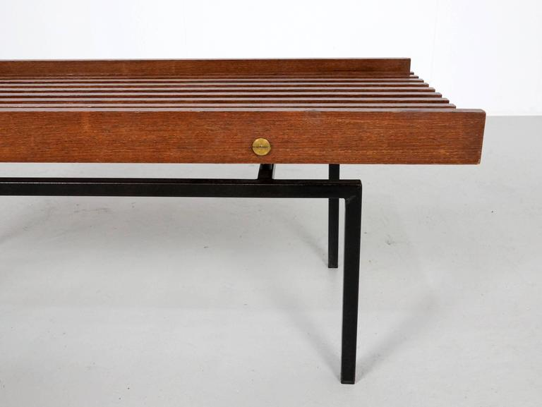Italian Slatted Bench or Side Table in Wenge Wood, with Brass Details For Sale 1