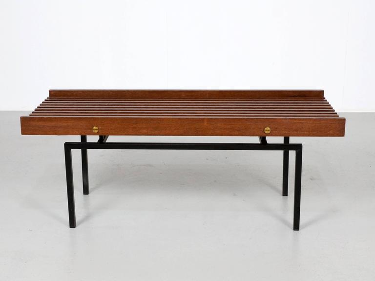 Mid-Century Modern Italian Slatted Bench or Side Table in Wenge Wood, with Brass Details For Sale
