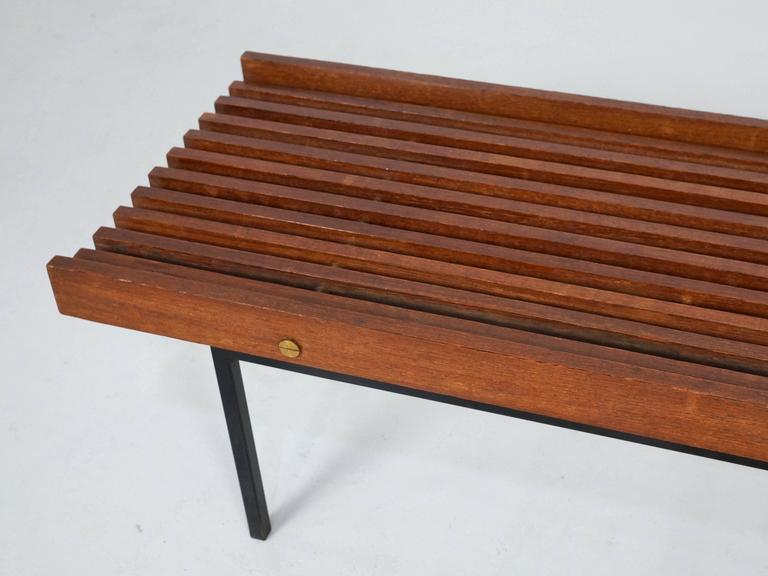 Italian Slatted Bench or Side Table in Wenge Wood, with Brass Details For Sale 2