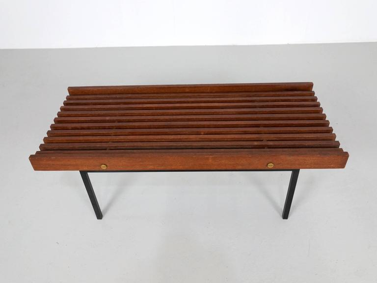 Mid-20th Century Italian Slatted Bench or Side Table in Wenge Wood, with Brass Details For Sale