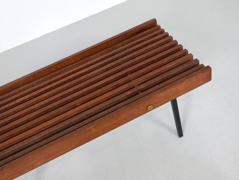 Italian Slatted Bench or Side Table in Wenge Wood, with Brass Details For Sale 3