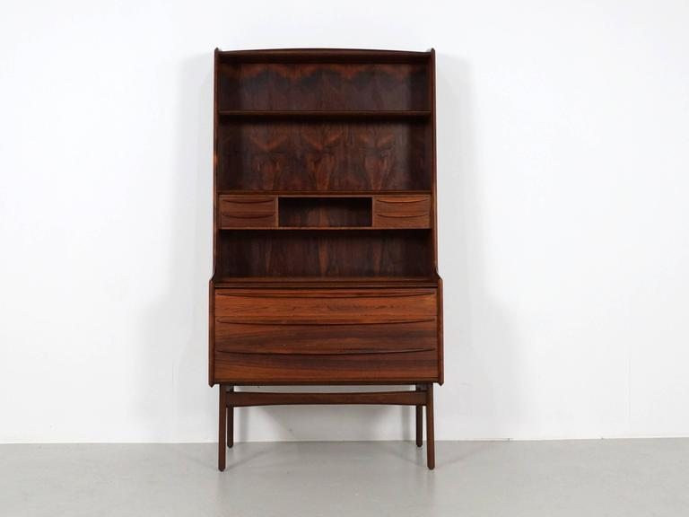 Scandinavian Modern Secretary Desk in Rosewood with Pull Out Writing Surface 2