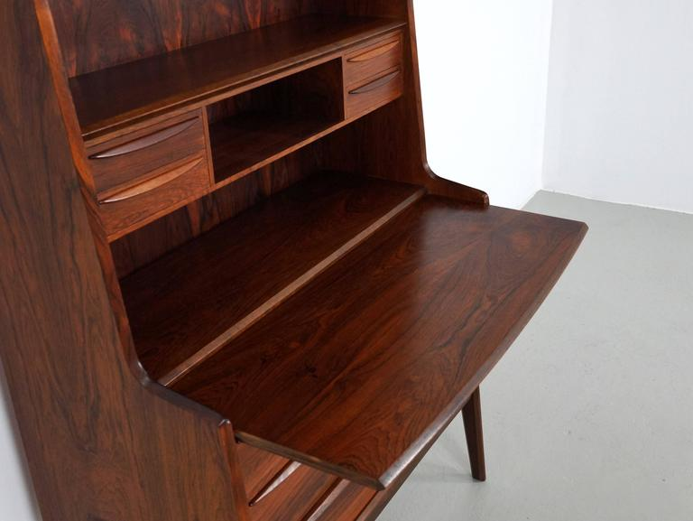 Scandinavian Modern Secretary Desk in Rosewood with Pull Out Writing Surface 5