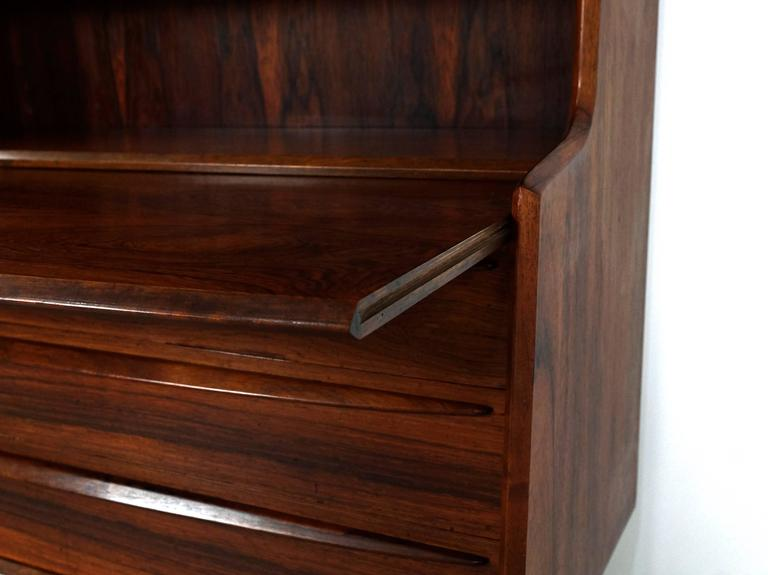 Scandinavian Modern Secretary Desk in Rosewood with Pull Out Writing Surface 4
