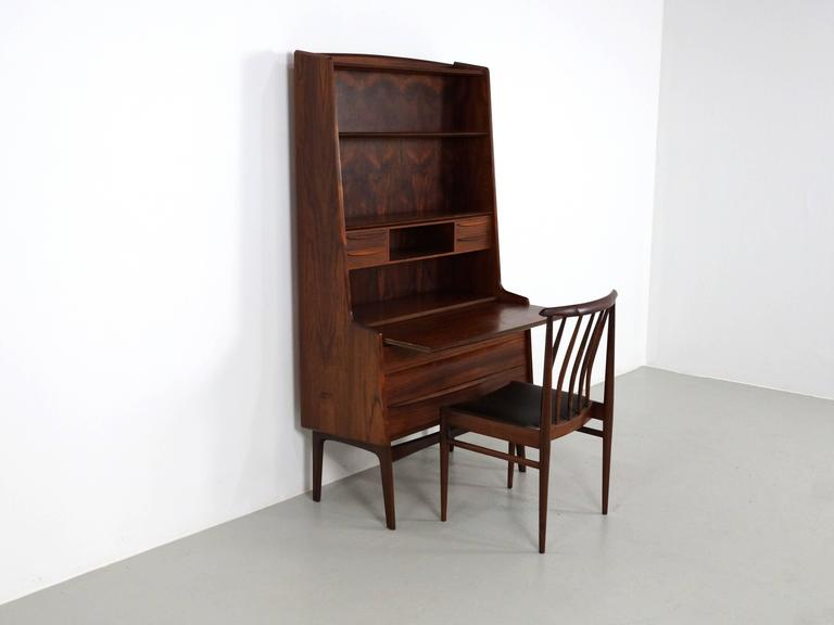 Scandinavian Modern Secretary Desk in Rosewood with Pull Out Writing Surface 7