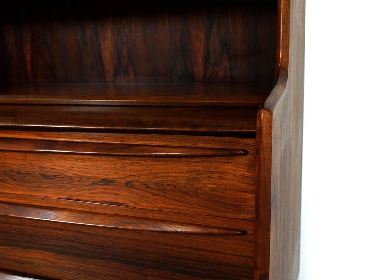 Scandinavian Modern Secretary Desk in Rosewood with Pull Out Writing Surface 9