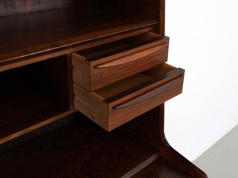 Scandinavian Modern Secretary Desk in Rosewood with Pull Out Writing Surface 8