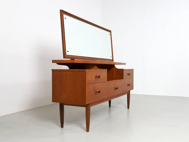 European Danish Modern Teak Vanity or Dressing Table with Mirror, 1960s For Sale