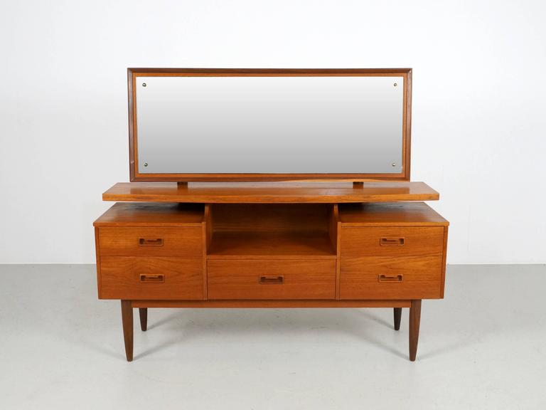 Danish Modern Teak Vanity Or Dressing Table With Mirror, 1960s 2
