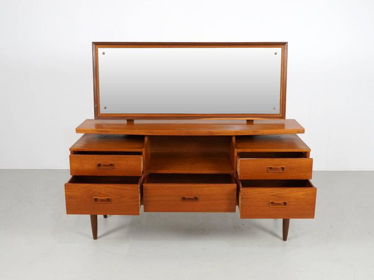 Mid-Century Modern Danish Modern Teak Vanity or Dressing Table with Mirror, 1960s For Sale