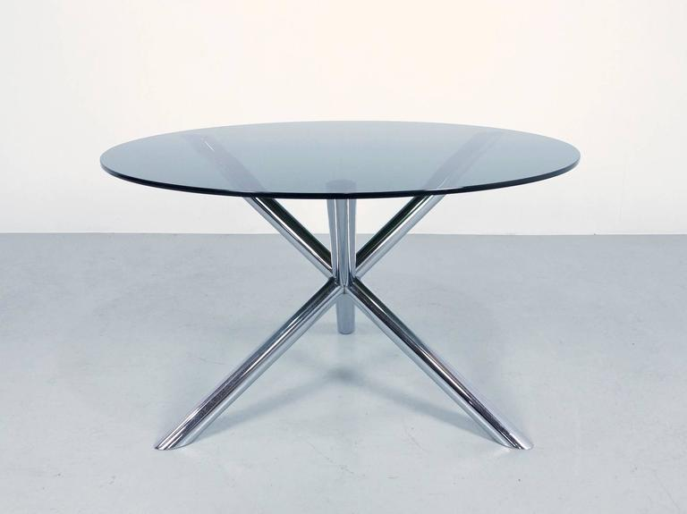 1970s round dining table in chrome and smoked glass by for Round glass and chrome dining table