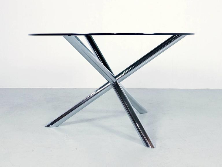 1970s Round Dining Table In Chrome And Smoked Glass By Roche Bobois 2 Part 77