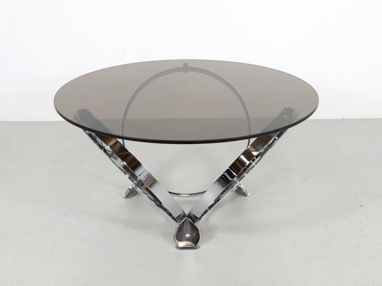 Round Chrome Coffee Table By Knut Hesterberg 1970 2