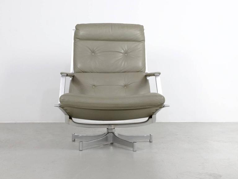 Fabricius & Kastholm FK85 Grey Leather Lounge Chair for Kill International, 1962 3