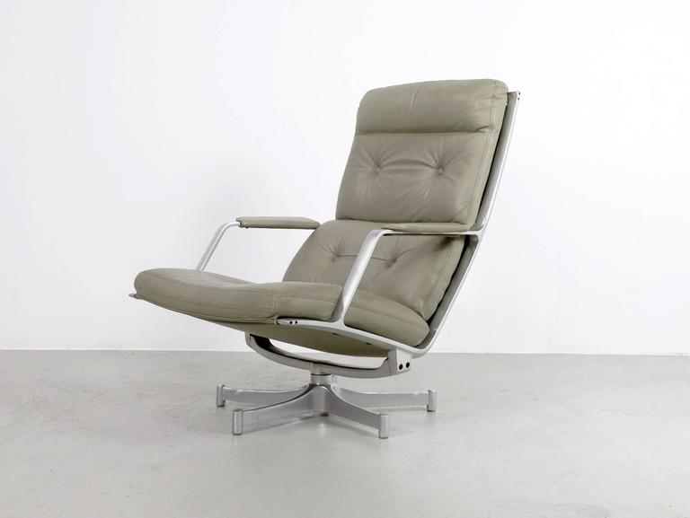 Fabricius & Kastholm FK85 Grey Leather Lounge Chair for Kill International, 1962 4