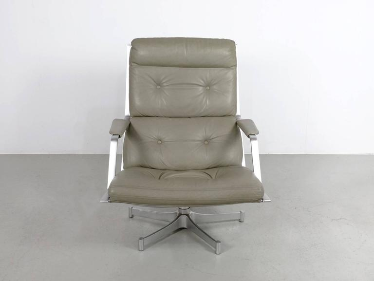 Fabricius & Kastholm FK85 Grey Leather Lounge Chair for Kill International, 1962 2