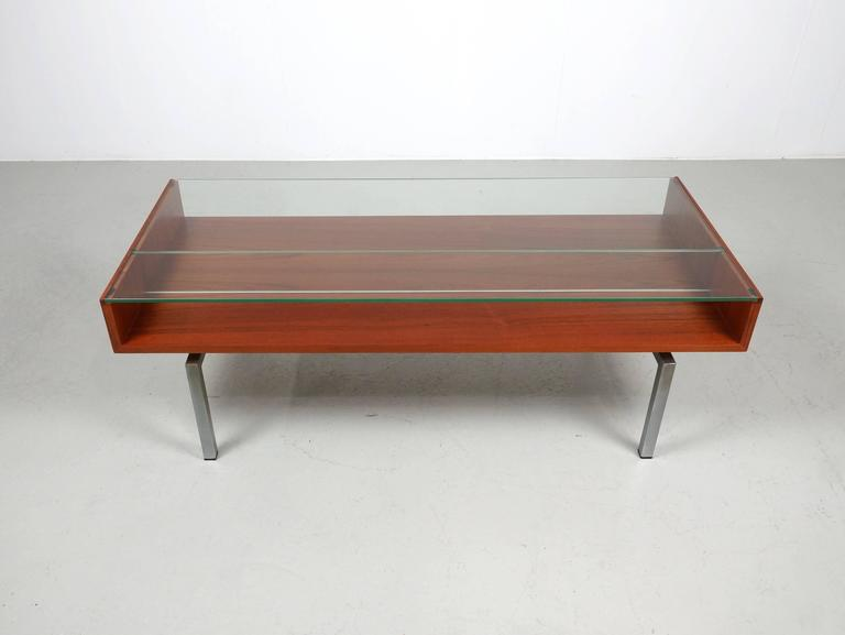 Dutch Coffee Table in Teak and Glass For Sale